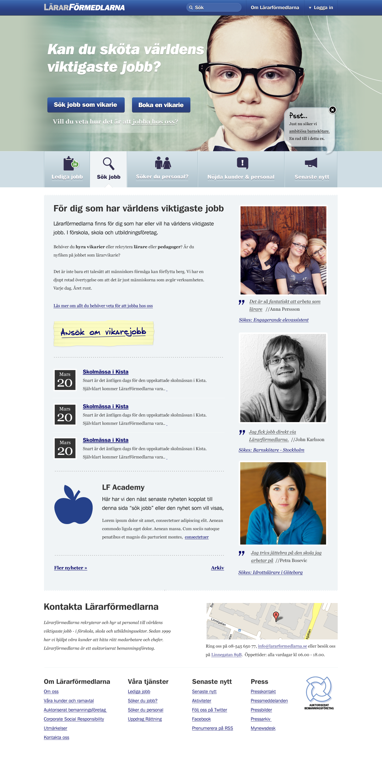 Startpage for Lärarförmedlarna.se
