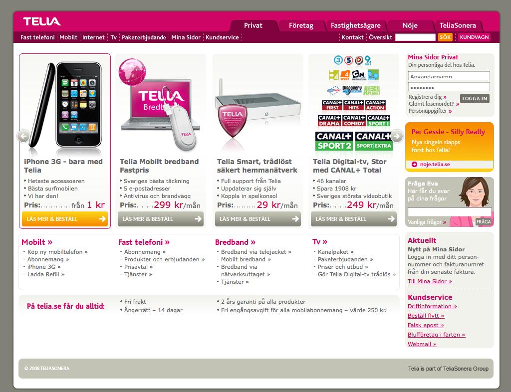 Telia start page